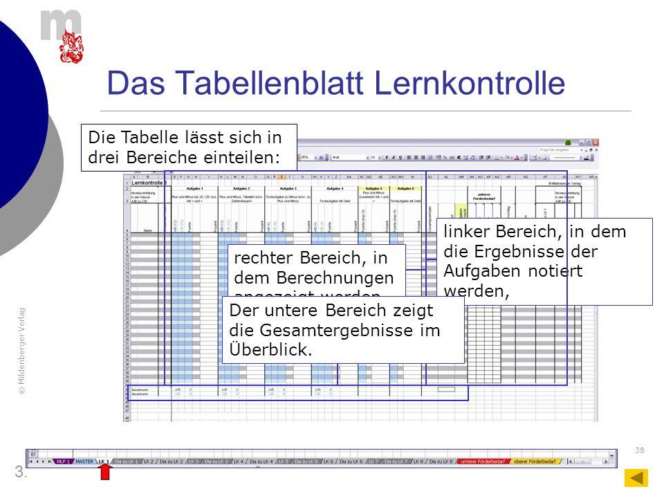 Das Tabellenblatt Lernkontrolle