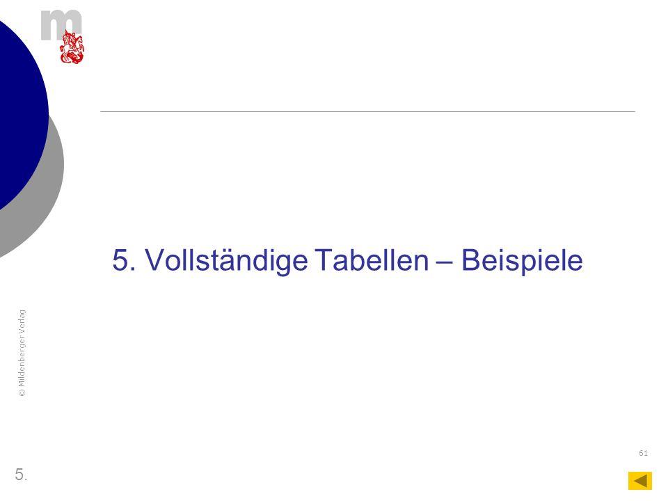 5. Vollständige Tabellen – Beispiele