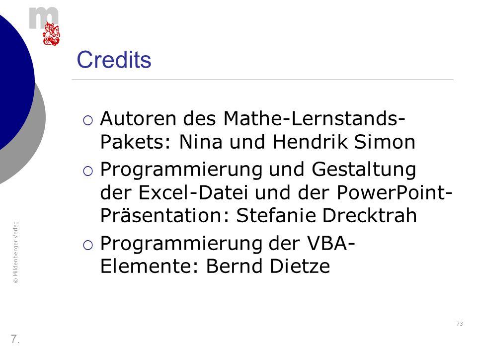 Credits Autoren des Mathe-Lernstands-Pakets: Nina und Hendrik Simon