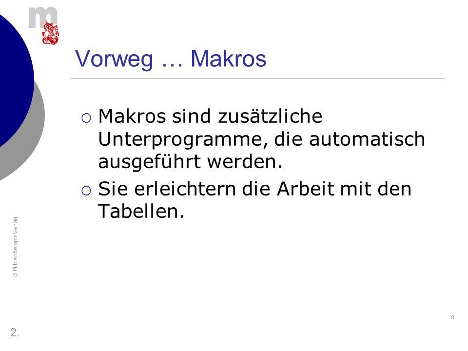 Vorweg … Makros Makros sind zusätzliche Unterprogramme, die automatisch ausgeführt werden. Sie erleichtern die Arbeit mit den Tabellen.