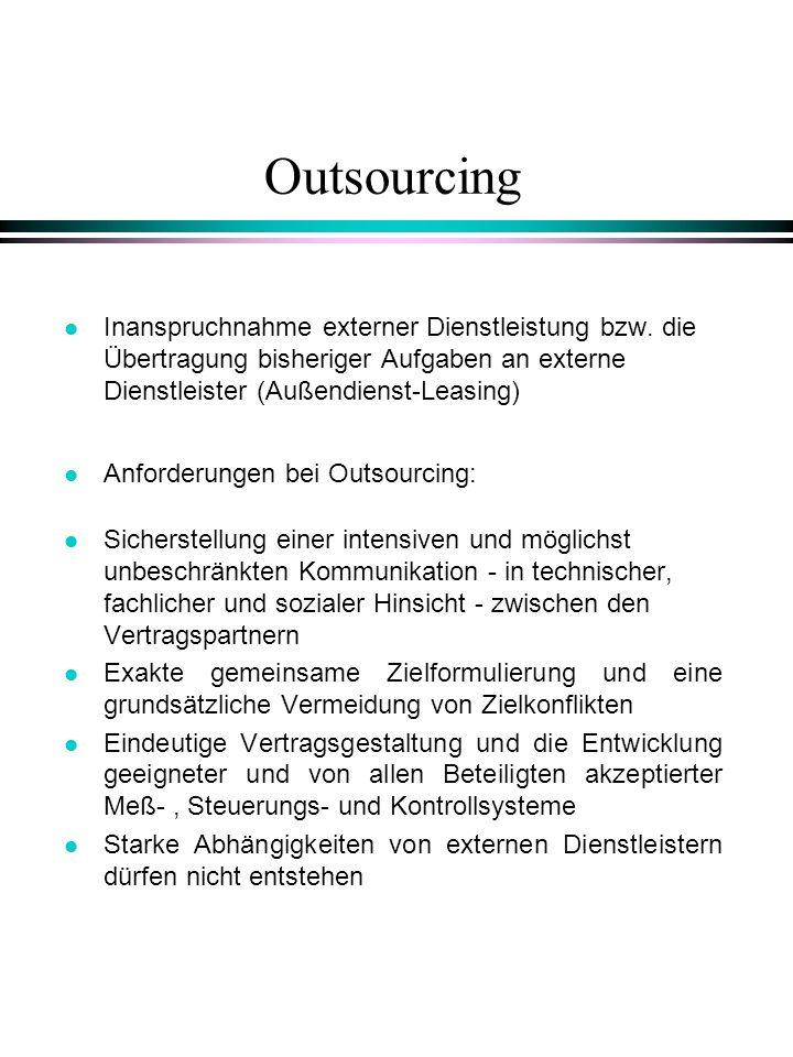 Outsourcing Inanspruchnahme externer Dienstleistung bzw. die Übertragung bisheriger Aufgaben an externe Dienstleister (Außendienst-Leasing)