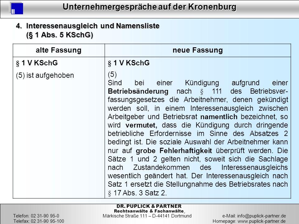 4. Interessenausgleich und Namensliste (§ 1 Abs. 5 KSchG)