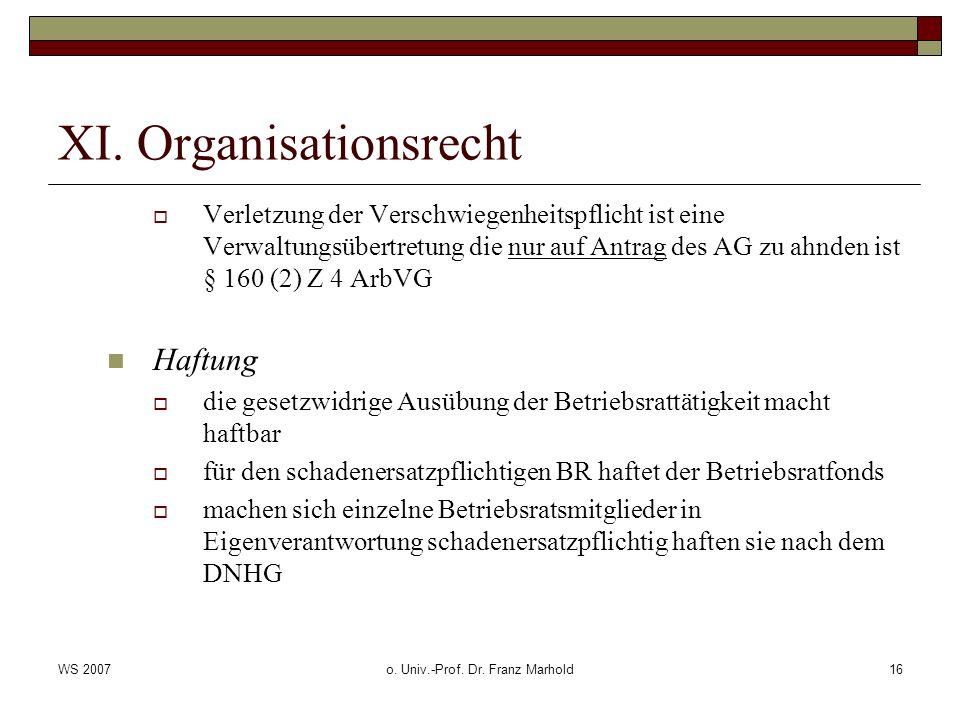 XI. Organisationsrecht