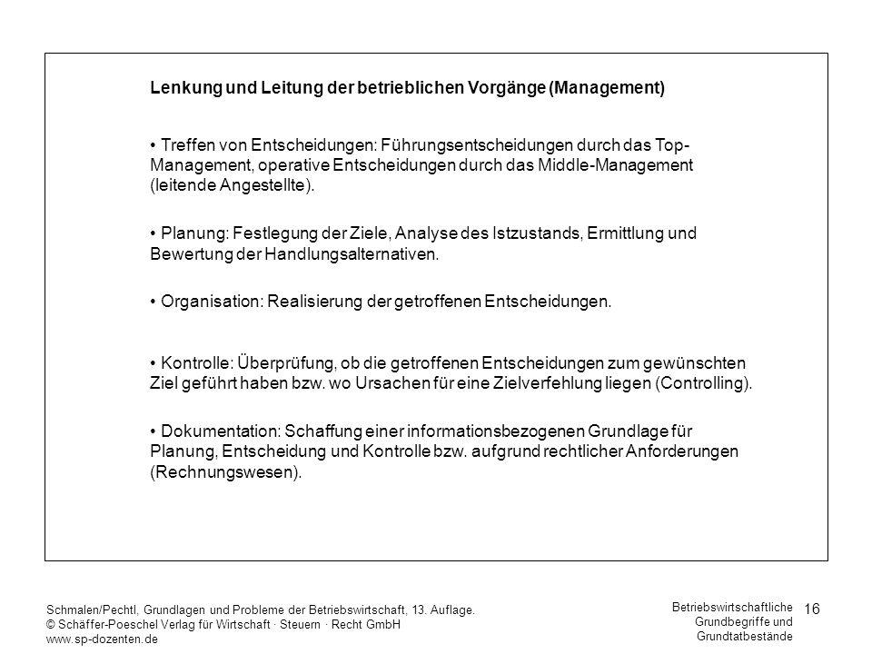 Lenkung und Leitung der betrieblichen Vorgänge (Management)