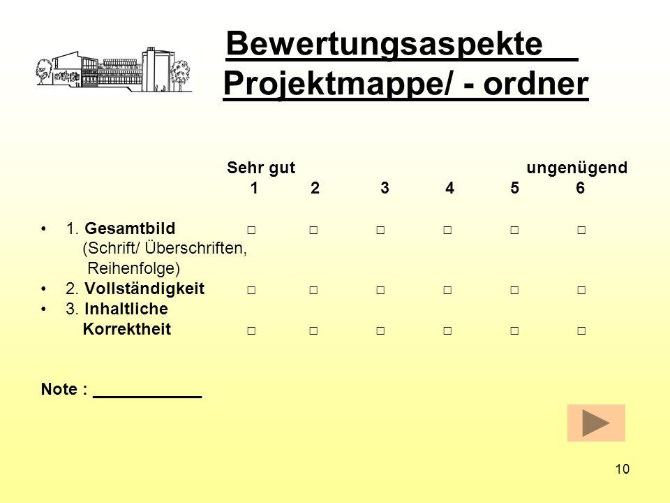 Bewertungsaspekte Projektmappe/ - ordner