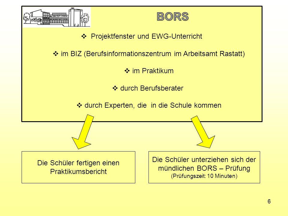 BORS Projektfenster und EWG-Unterricht