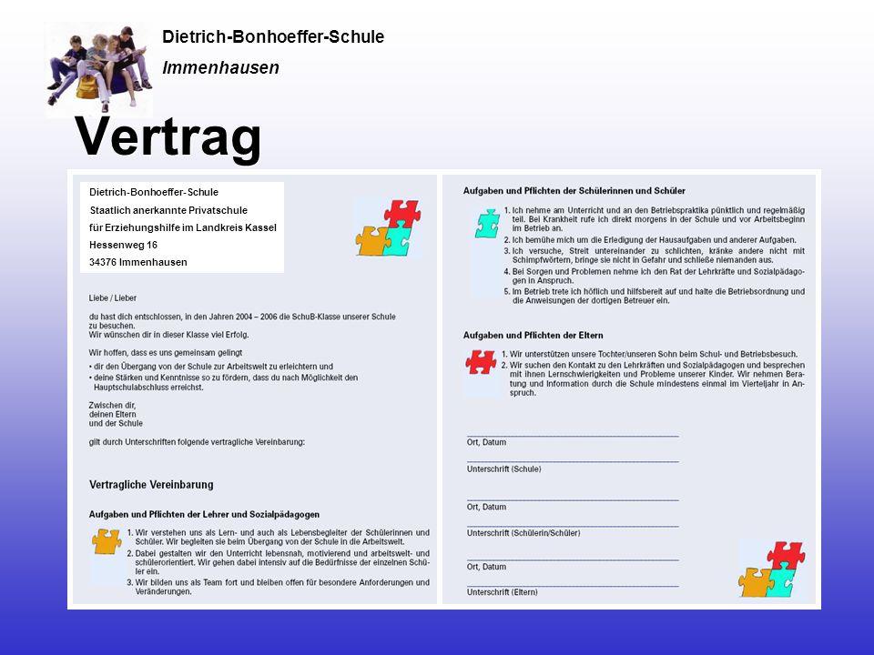 Vertrag Dietrich-Bonhoeffer-Schule Immenhausen