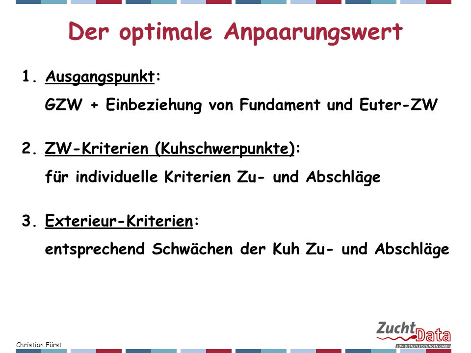 Der optimale Anpaarungswert