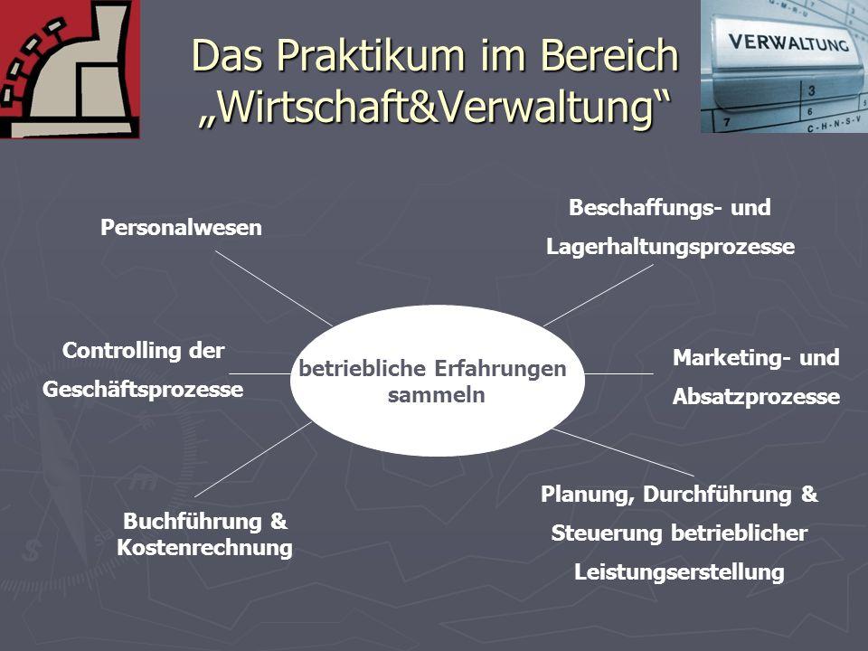"""Das Praktikum im Bereich """"Wirtschaft&Verwaltung"""