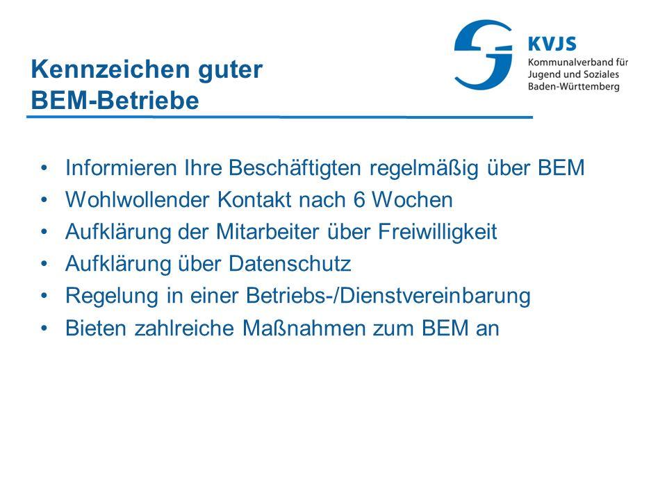 Kennzeichen guter BEM-Betriebe