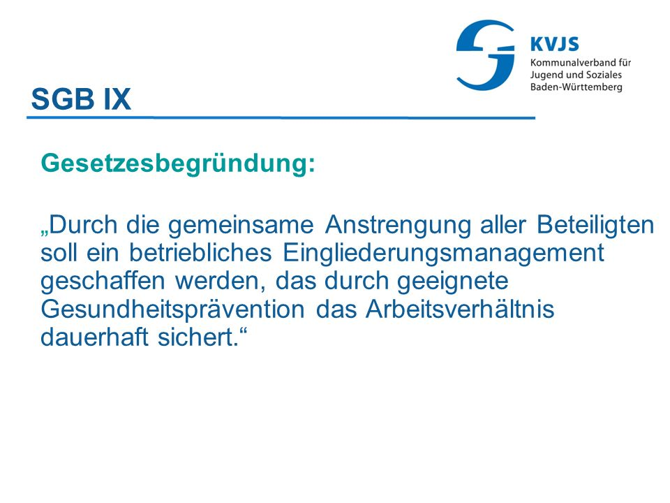 SGB IX Gesetzesbegründung: