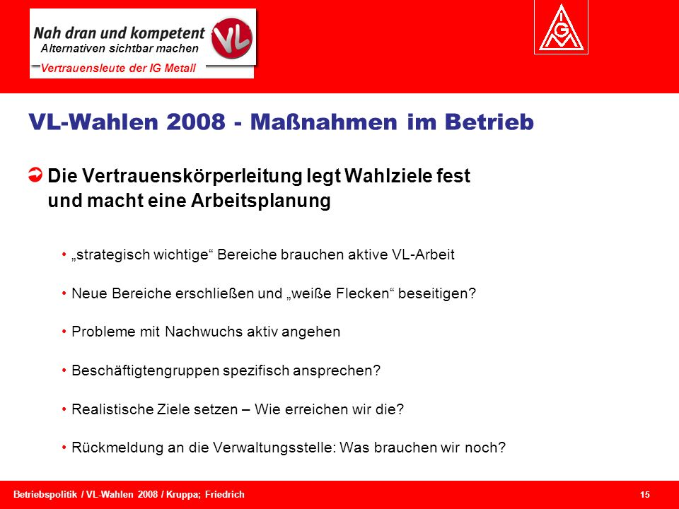 VL-Wahlen 2008 - Maßnahmen im Betrieb
