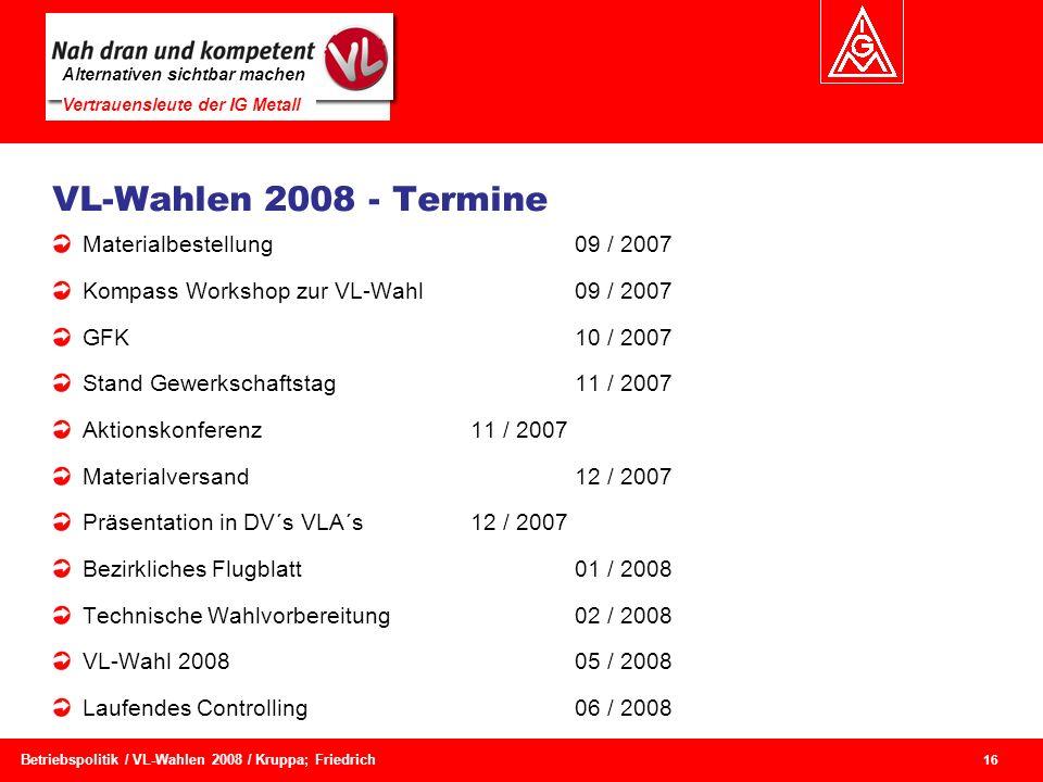 VL-Wahlen 2008 - Termine Materialbestellung 09 / 2007