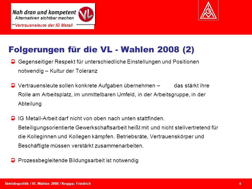 Folgerungen für die VL - Wahlen 2008 (2)