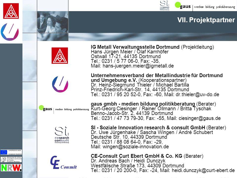 VII. Projektpartner IG Metall Verwaltungsstelle Dortmund (Projektleitung) Hans Jürgen Meier / Olaf Kamhöfer.