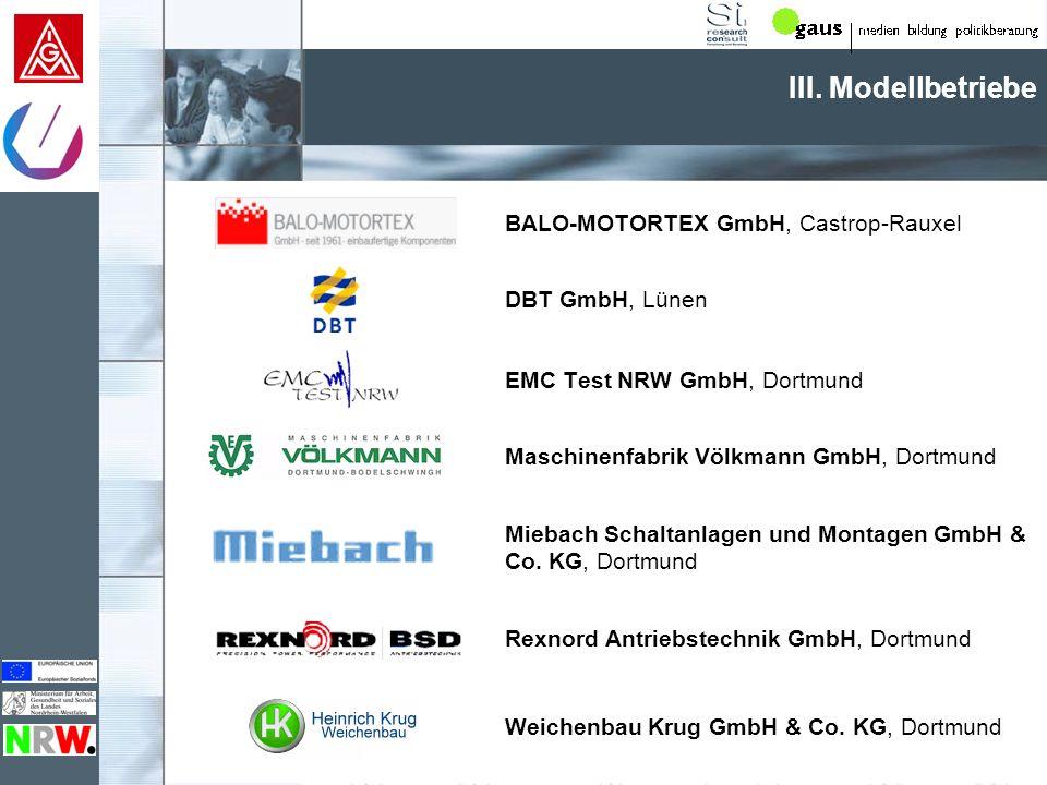 III. Modellbetriebe BALO-MOTORTEX GmbH, Castrop-Rauxel DBT GmbH, Lünen
