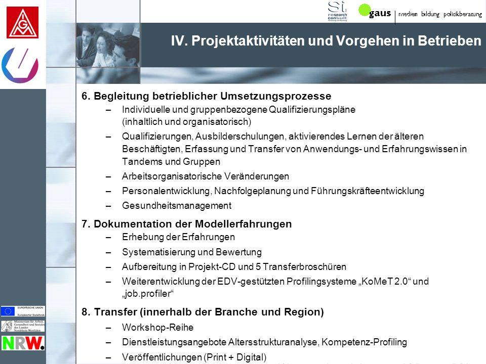 IV. Projektaktivitäten und Vorgehen in Betrieben