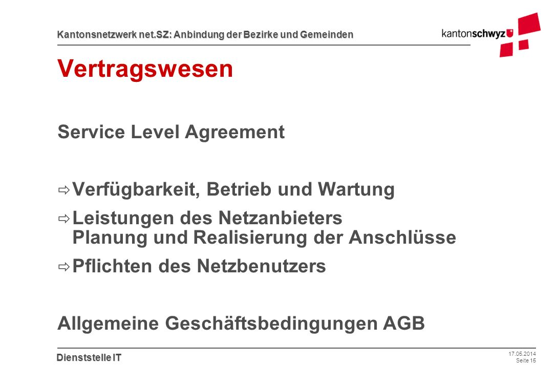 Vertragswesen Service Level Agreement