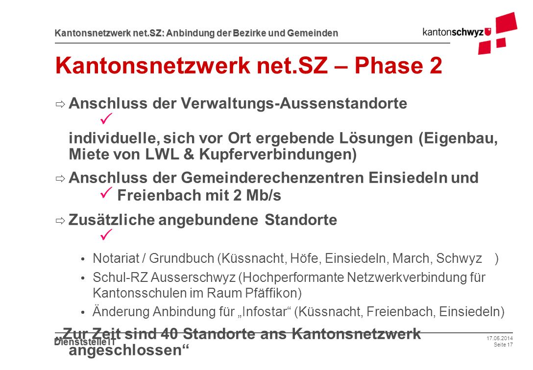 Kantonsnetzwerk net.SZ – Phase 2
