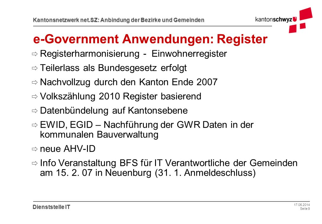 e-Government Anwendungen: Register