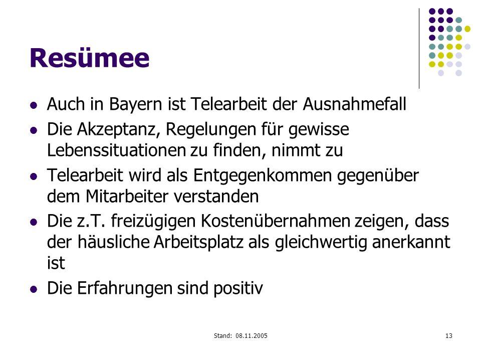 Resümee Auch in Bayern ist Telearbeit der Ausnahmefall