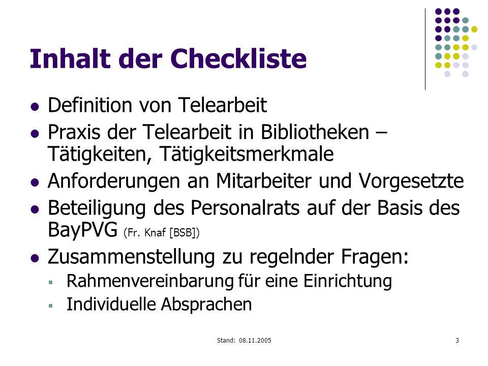 Inhalt der Checkliste Definition von Telearbeit