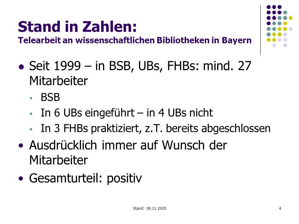 Stand in Zahlen: Telearbeit an wissenschaftlichen Bibliotheken in Bayern