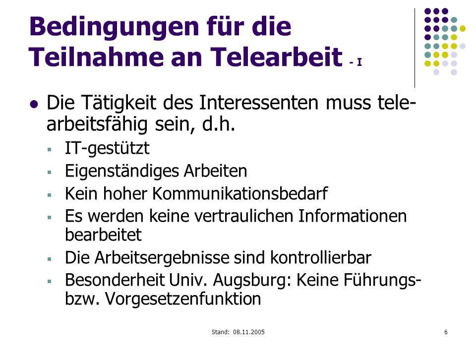 Bedingungen für die Teilnahme an Telearbeit - I