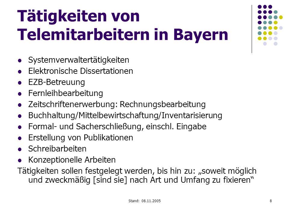 Tätigkeiten von Telemitarbeitern in Bayern