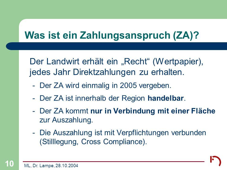 Was ist ein Zahlungsanspruch (ZA)