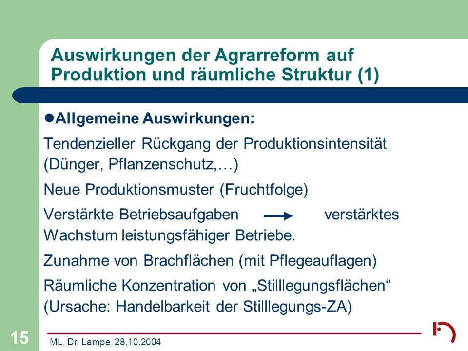 Auswirkungen der Agrarreform auf Produktion und räumliche Struktur (1)