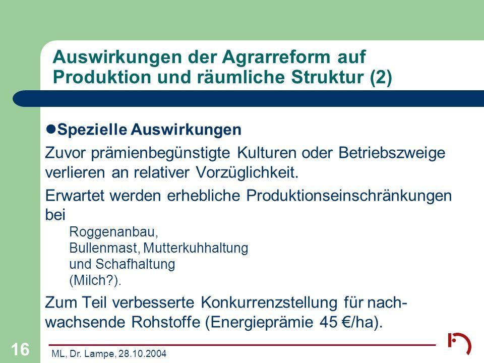 Auswirkungen der Agrarreform auf Produktion und räumliche Struktur (2)
