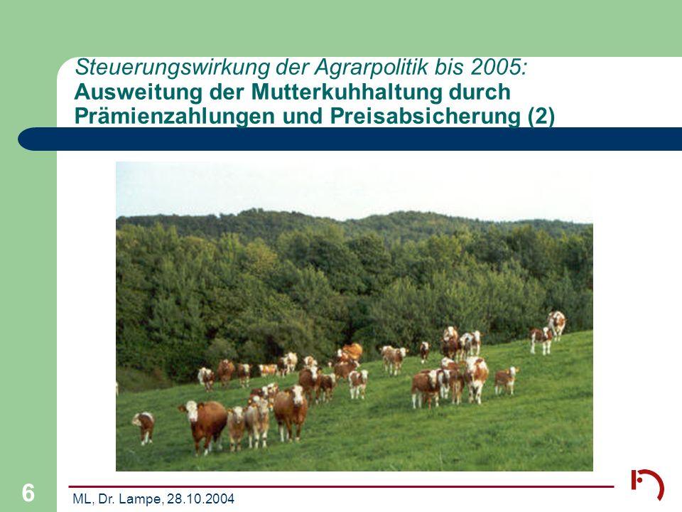 Steuerungswirkung der Agrarpolitik bis 2005: Ausweitung der Mutterkuhhaltung durch Prämienzahlungen und Preisabsicherung (2)