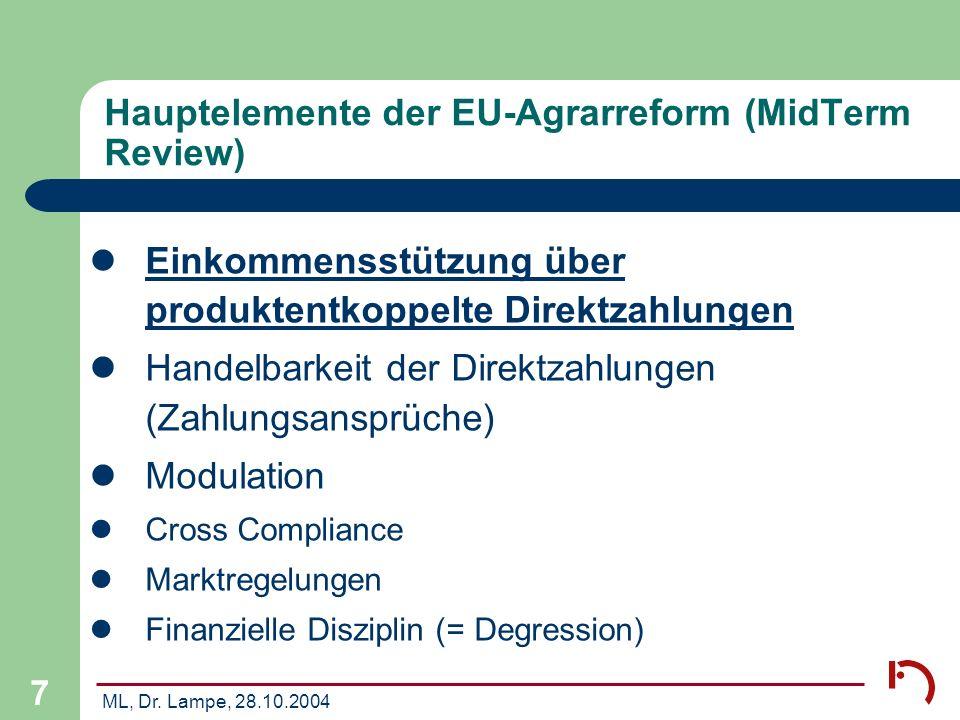 Hauptelemente der EU-Agrarreform (MidTerm Review)