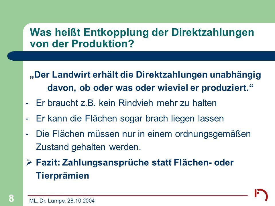 Was heißt Entkopplung der Direktzahlungen von der Produktion