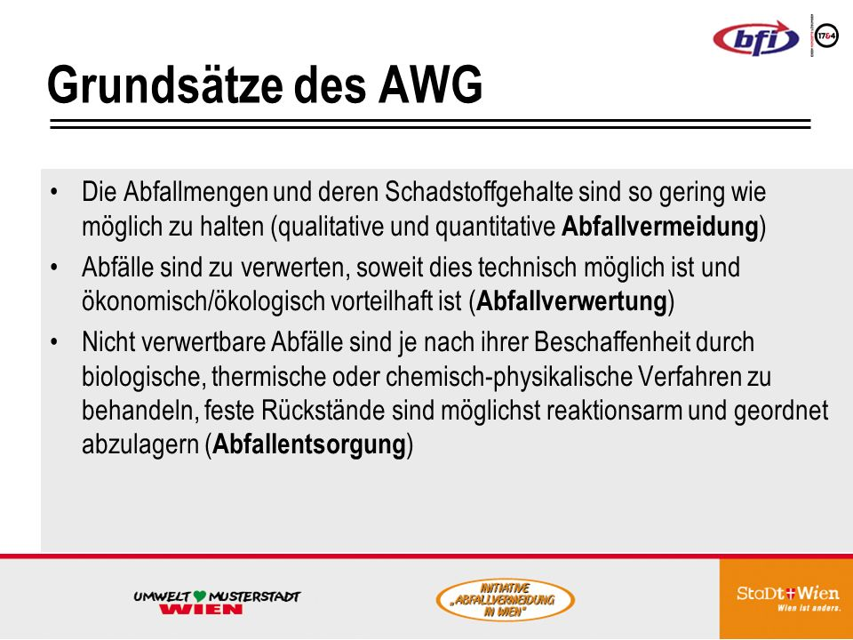 Grundsätze des AWG Die Abfallmengen und deren Schadstoffgehalte sind so gering wie möglich zu halten (qualitative und quantitative Abfallvermeidung)