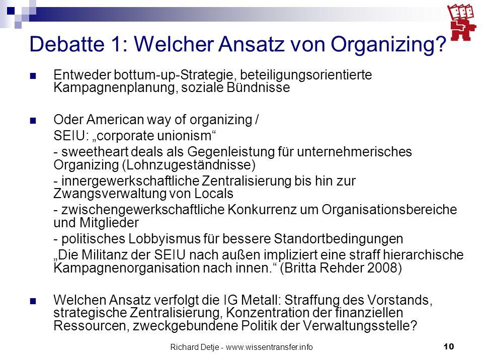 Debatte 1: Welcher Ansatz von Organizing