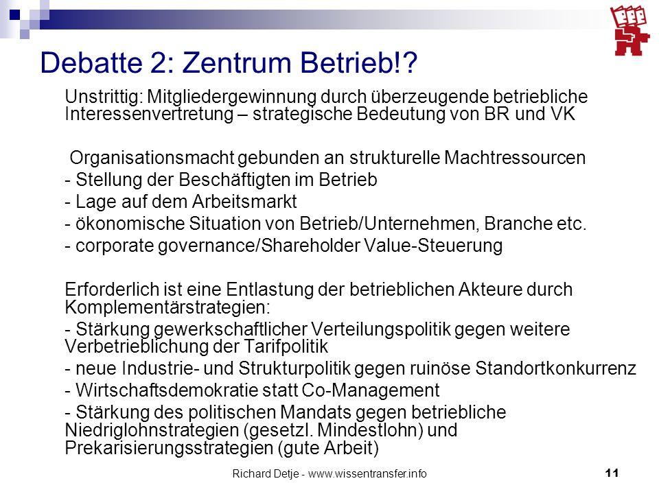 Debatte 2: Zentrum Betrieb!