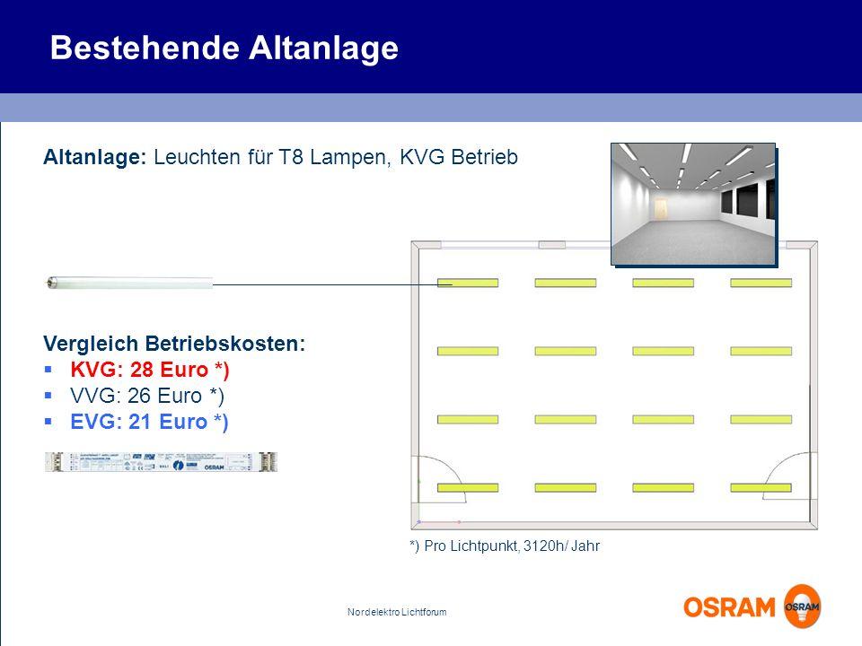 Bestehende Altanlage Altanlage: Leuchten für T8 Lampen, KVG Betrieb