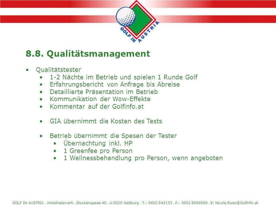 8.8. Qualitätsmanagement Qualitätstester