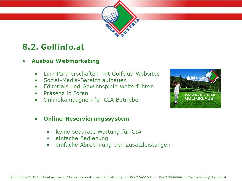 8.2. Golfinfo.at Ausbau Webmarketing