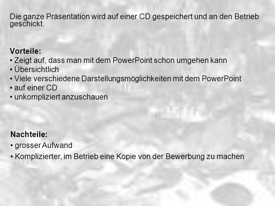 Die ganze Präsentation wird auf einer CD gespeichert und an den Betrieb geschickt.