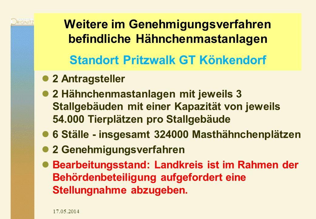 Weitere im Genehmigungsverfahren befindliche Hähnchenmastanlagen Standort Pritzwalk GT Könkendorf