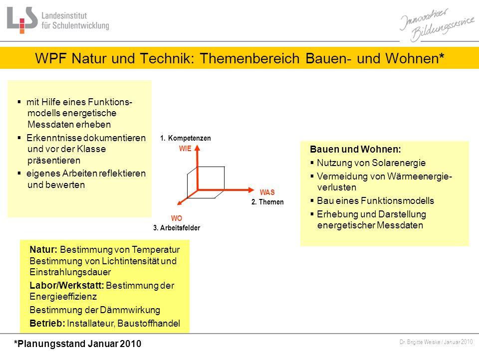WPF Natur und Technik: Themenbereich Bauen- und Wohnen*