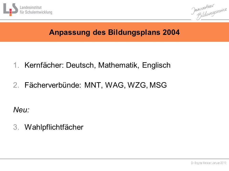Anpassung des Bildungsplans 2004