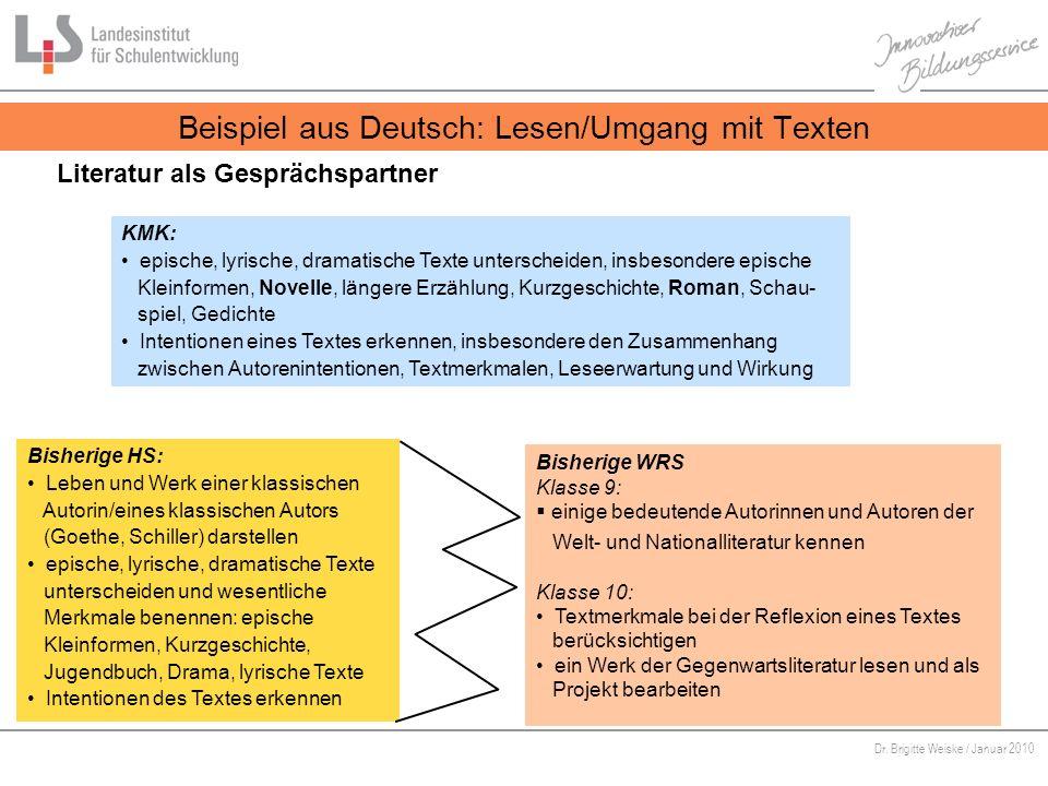 Beispiel aus Deutsch: Lesen/Umgang mit Texten