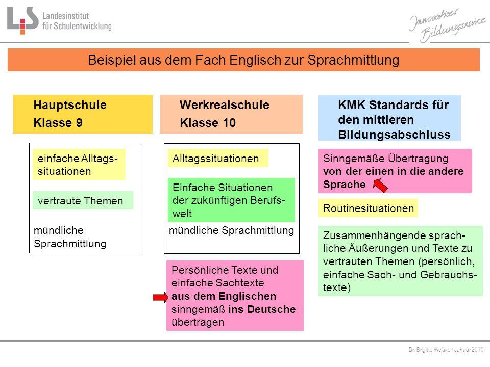Beispiel aus dem Fach Englisch zur Sprachmittlung