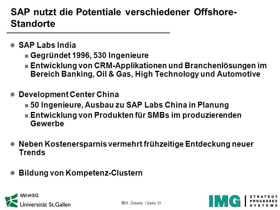 SAP nutzt die Potentiale verschiedener Offshore-Standorte