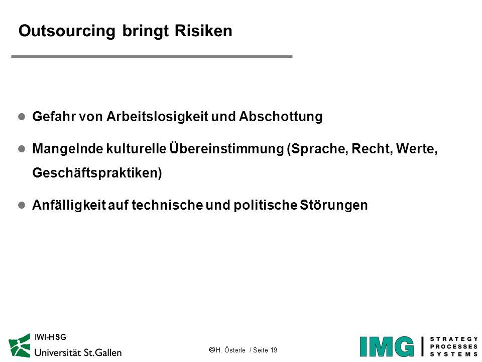 Outsourcing bringt Risiken
