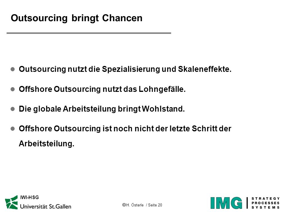 Outsourcing bringt Chancen